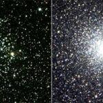 Voici deux amas d'étoiles. A gauche, l'amas ouvert M 52 est nettement moins dense que l'amas globulaire M 22 à droite. Leur nature est très différente.