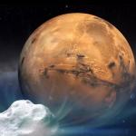 Vue d'artiste de la comète 2013 A1 s'approchant de Mars