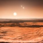 Vue d'artiste du système de Gliese 667 vu depuis la surface d'une des super-Terres récemment découvertes