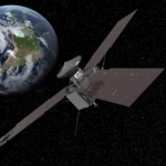 Vue d'artiste du survol de la Terre par Juno