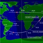Trace au sol du passage de Juno. Les heures indiquées sont en Temps Universel