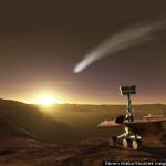 Vue d'artiste de ce pourrait voir le rover Opportunity lors du prochain passage de la comète Siding Spring dans les parages de Mars