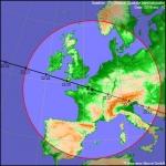 Trace au sol du passage de l'ISS du 10 avril 2016. La station sera visible depuis tout point situé à l'intérieur du cercle rouge.