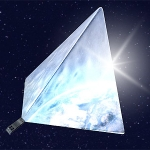 Vue d'artiste du satellite Mayak, réflecteurs déployés.