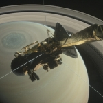 Vue d'artiste de la sonde Cassini surplombant le pôle Nord de Saturne.