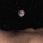 Infographie nous offrant un panorama de l'environnement terrestre proche vu depuis l'astéroïde géocroiseur Toutatis