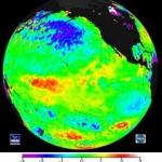 Carte de température des eaux de surface prise en février 2003. On y voit clairement apparaître les eaux plus froides émergeant depuis les côtes de l'Amérique du Sud. Un signe précurseur de la Niña ? Bill Patzert le pense.