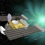 Vue d'artiste représentant l'approche de la comète Wild 2 par Stardust