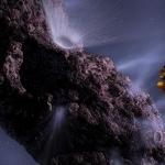 Représentation artistique de la phase cruciale de la mission Deep Impact : la collision entre le projectile et la comète, observée à distance par la sonde porteuse