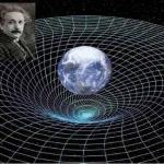 Vue d'artiste du concept de distorsions dans l'espace-temps introduites par la rotation terrestre.