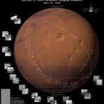 Reconstitution duparcours de Mariner 4 au-dessus de la surface martienne en juillet 1965.