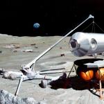 Vue d'artiste d'une base lunaire habitée