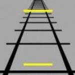 L'illusion de Ponzo illustrée. Laquelle des deux barres jaunes est la plus grande ? Réponse : aucune. Elles sont en vérité toutes les deux de la même longueur, et c'est l'arrière-plan qui nous trompe