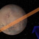 Vue d'artiste indiquant l'angle sous lequel l'astéroïde 2007 WD5 devrait se présenter à Mars le 30 janvier 2008 (flèche bleue) ainsi que la bande de terrain martien (en saumon) où l'impact pourrait se produire. La probabilité d'un tel évènement est aujourd'hui d'une chance sur 75 soit à peine supérieure à 1%. Cliquez sur le lien du crédit pour avoir accès à une animation