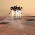 Vue d'artiste de la sonde Phoenix un instant avant son atterrissage sur la plaine arctique martienne. Les rétrofusées contrôlent la vitesse de l'engin spatial durant les dernières secondes de la descente.