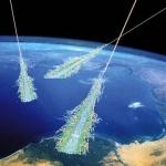 Vue d'artiste de rayons cosmiques frappant la haute atmosphère
