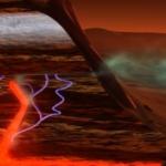 Représentation artistique d'un processus géologique qui pourrait expliquer la présence de méthane dans l'atmosphère martienne sans activité biologique : Sous l'action de la chaleur résiduelle du noyau martien, de l'eau souterraine pourrait se combiner avec du dioxyde de carbone pour produire du méthane.