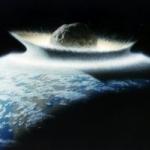Vue d'artiste d'un impact d'astéroïde avec la Terre