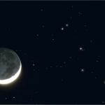 La Lune proche des Pléiades en avril 2005