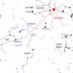 Aspect du ciel cette nuit vers 5h30 du matin. Le radiant des Orionides se trouve en réalité entre Orion et les Gémeaux.