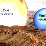 Ce schéma compare la taille d'une étoile à neutrons et d'une étoile à quarks par rapport au Grand Canyon en Arizona. Plus petite et dense, l'étoile à quarks serait constituée de quarks. Mais bien des mystères subsistent au sujet de ces astres encore hypothétiques.