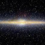 La Voie Lactée vue en infrarouge par le satellite COBE. Les étoiles apparaissent en blanc, les poussières interstellaires en rouge.