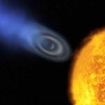 La très étrange atmosphère ellipsoïdale d'Osiris, alias HD 209458 b, soufflée par la chaleur d'un Soleil distant de 7 millions de kilomètres seulement (distance Terre-Soleil : 21 fois plus)