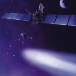 Vue d'artiste de Rosetta et de son atterrisseur Philae lancés à la poursuite de Chury