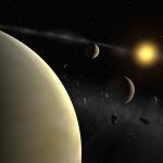 Vue d'artiste des trois composantes aujourd'hui connues du système solaire formé autour de l'étoile HD 69830