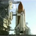 Discovery sur le pas de tir 39B d'où se sont élancées avant elle les plus prestigieuses missions de la Nasa, les Apollo/Saturn V à destination de la Lune