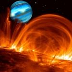 Vue d'artiste de la planète géante en orbite autour de tau Bootis, à travers les arches magnétiques de l'étoile