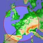Trace au sol du passage d'USA 193 au-dessus de la France le mardi 19 février 2008. Le cercle rouge délimite la zone dans laquelle le satellite est visible à plus de 10° au-dessus de l'horizon depuis la région parisienne. Le satellite devrait se lever au sud-ouest vers 19h47. Soyez prêt quelques minutes auparavant.
