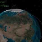 représentation des trajectoires des deux satellites avant l'impact.