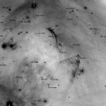 Superbe vue à grand champ qui permet de se promener dans le nuage moléculaire Lynds 1642 et d'y repérer, dans les ovales, les onze nouveaux objets de Herbig Haro détectés par Subaru