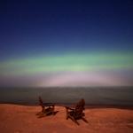Aurores vues la nuit dernière dans le Michigan, sur les bords du Lac Supérieur