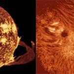 Ce montage présente deux protubérances, l'une en forme d'arche vue au bord du Soleil (à gauche) et l'autre (à droite) vue de dessus, sous l'aspect d'un long filament blanc. Ces deux photos ont été prises dans la raie H-alpha. La protubérance de gauche est la plus grande jamais observée. Apparue le 19 décembre 1973, elle mesurait 588 000 km de long (soit 1,5 fois la distance Terre-Lune).
