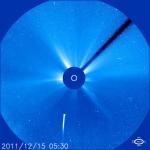 LoveJoy vue par le coronographe Lasco C3 de SOHO le 15 décembre à 6h30 du matin