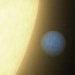 Vue d'artiste de 55 Cancri e, quasiment collée à son étoile. Il en résulte une rotation synchrone avec sa période de révolution, et des températures infernales sur sa face constamment illuminée.