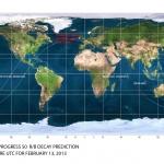 Carte de prévision de rentrée de l'étage supérieur de lanceur Soyouz observé hier soir.