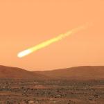 Vue d'artiste de ce à quoi pourrait ressembler la chute d'une comète géante sur Mars.