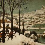 Chasseurs revenant au village, dans la neige, et ils ont froid