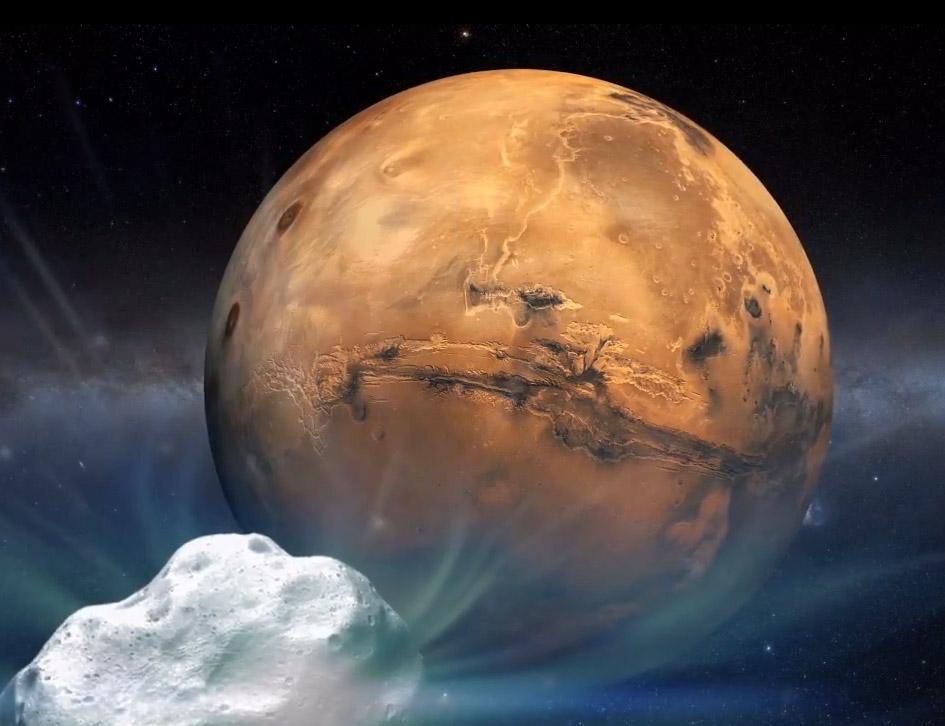 Vue d\'artiste de la comète 2013 A1 s\'approchant de Mars