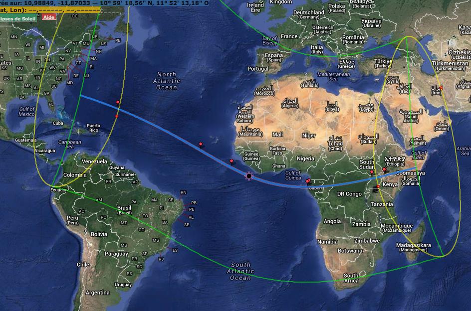 Carte générale de l\'éclipse hybride du 3 novembre 2013
