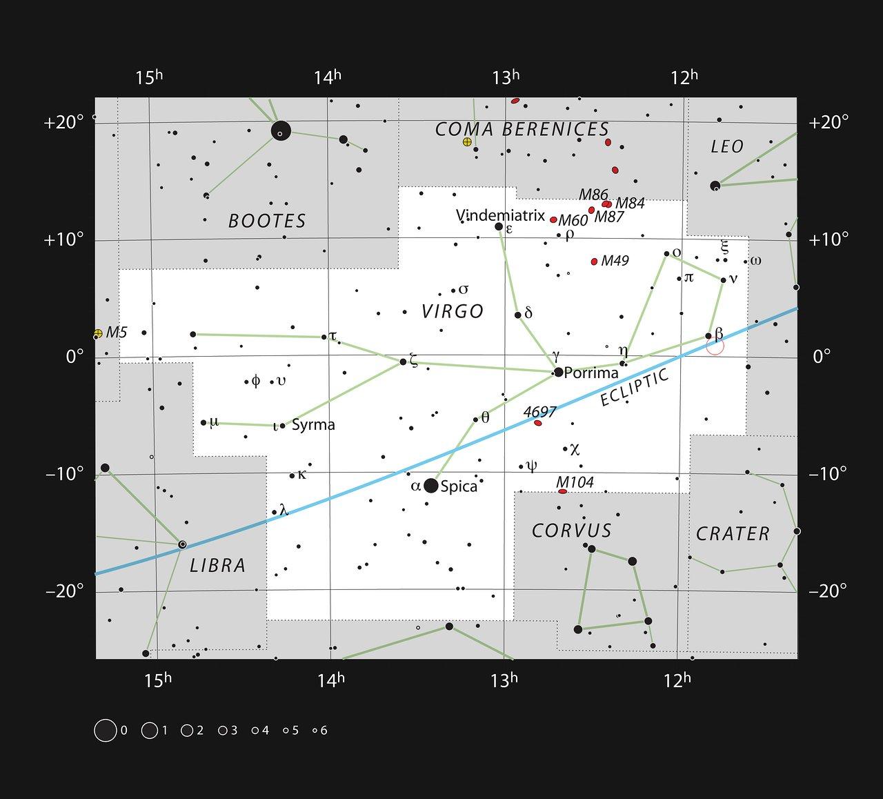 Position de Ross 128 (cercle rouge) dans la constellation de la Vierge.