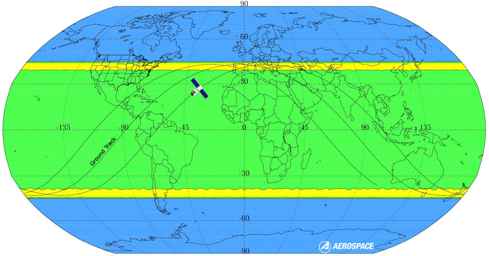 Planisphère des zones de chute potentielle de Tiangong-1. En bleu: aucun risque; en vert: faible probabilité; en jaune: forte probabilité
