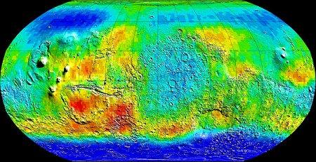 Sur cette carte de Mars en fausses couleurs, les sols riches en hydrogène apparaissent en bleu. Source : spectromètre neutron de Mars Odyssey.