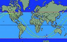 En Bleu clair, la zone de visibilité de la Station Spatiale Internationale. Où se trouve-t-elle en ce moment précis ? Cliquez sur le lien du crédit sous l'image pour le savoir