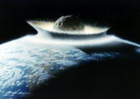 Cette illustration représentant un astéroïde de 500 kilomètres de diamètre heurtant la surface terrestre a beaucoup servi cette semaine pour illustrer les conséquences catastrophiques d\'une éventuelle collision avec 2002 NT7. Très efficace.