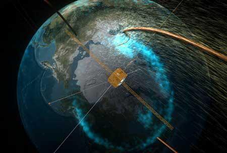 Vue d'artiste du satellite IMAGE détectant une faille dans le champ magnétique terrestre