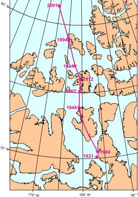Le trajet suivi par le pôle nord magnétique entre 1831 et 2001